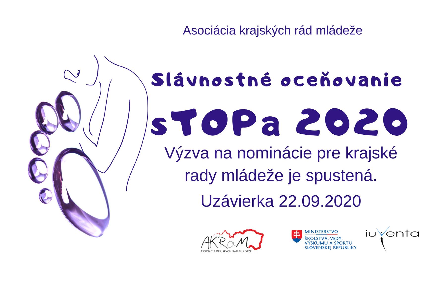 VÝZVA NA DORUČENIE NOMINÁCIÍ  sTOPa 2020